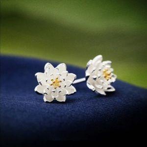 Sterling Silver 925 Flowers Stud Earrings